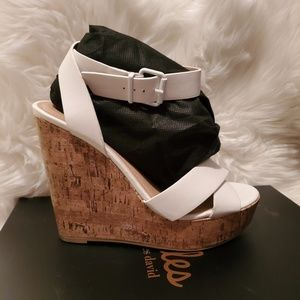 City Classified white cork wedges